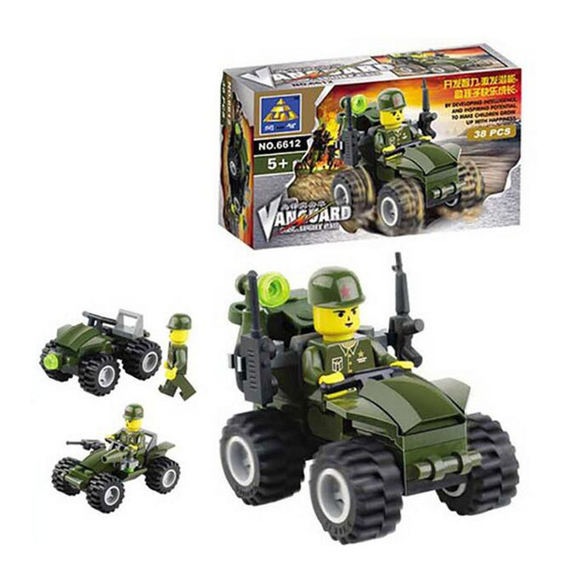 38pcs/set Military Car Model Building Blocks Set