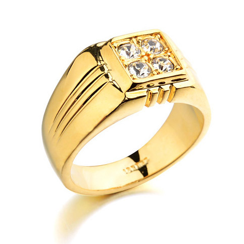 New Fashion Thailand Gems Boss RIng Yellow Gold Crystal Stone