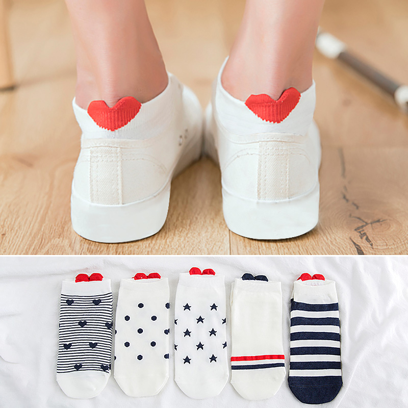 5Pairs New Arrivals Women Cotton   Socks   Pink Cute Cat Ankle Short   Sock   Casual Animal Ear Red Heart wholesale dropship 2019