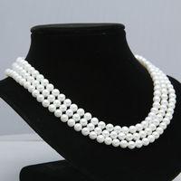 Оптовая цена 16new ^ настоящий подарок AAA + 3 ряда 8 9 мм Белый пресной воды ожерелье жемчуг