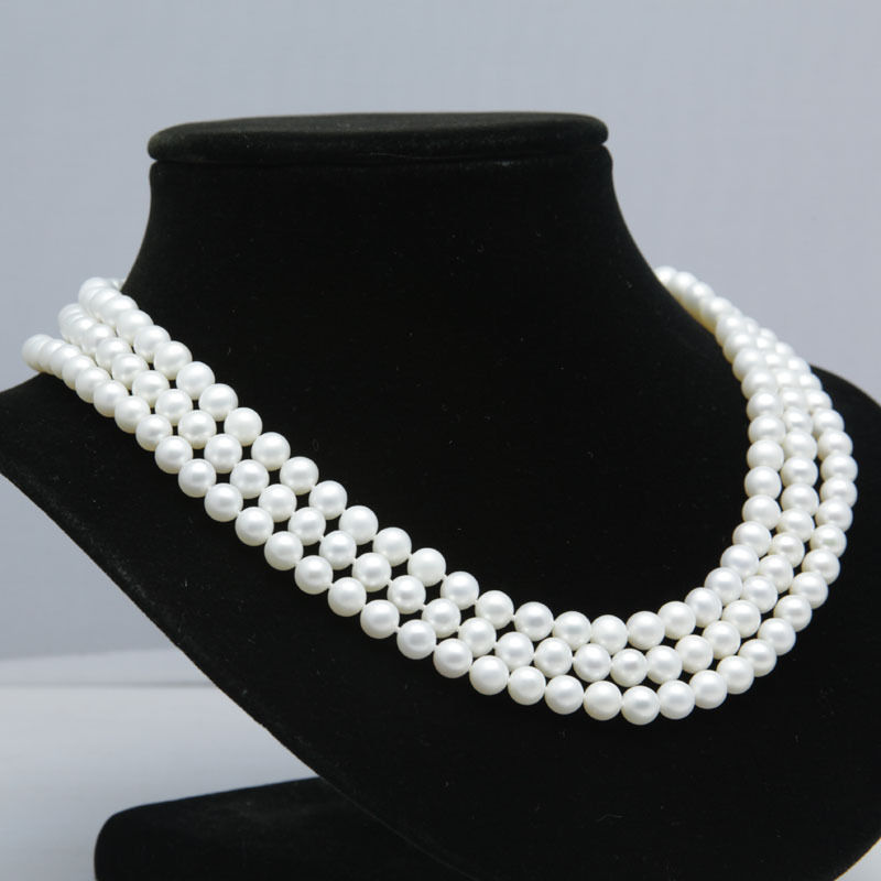 Wholesale price 16new ^^^^Real gift AAA+ 3 rows 8-9mm white fresh water pearls necklaceWholesale price 16new ^^^^Real gift AAA+ 3 rows 8-9mm white fresh water pearls necklace
