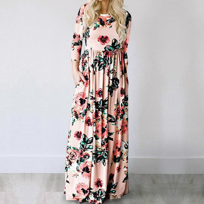 Summer Maxi Dress Women 2019 Pink Floral Print Boho Beach Dress Ladies Evening Party Long Dress Sundress Vestidos De Festa 3XL
