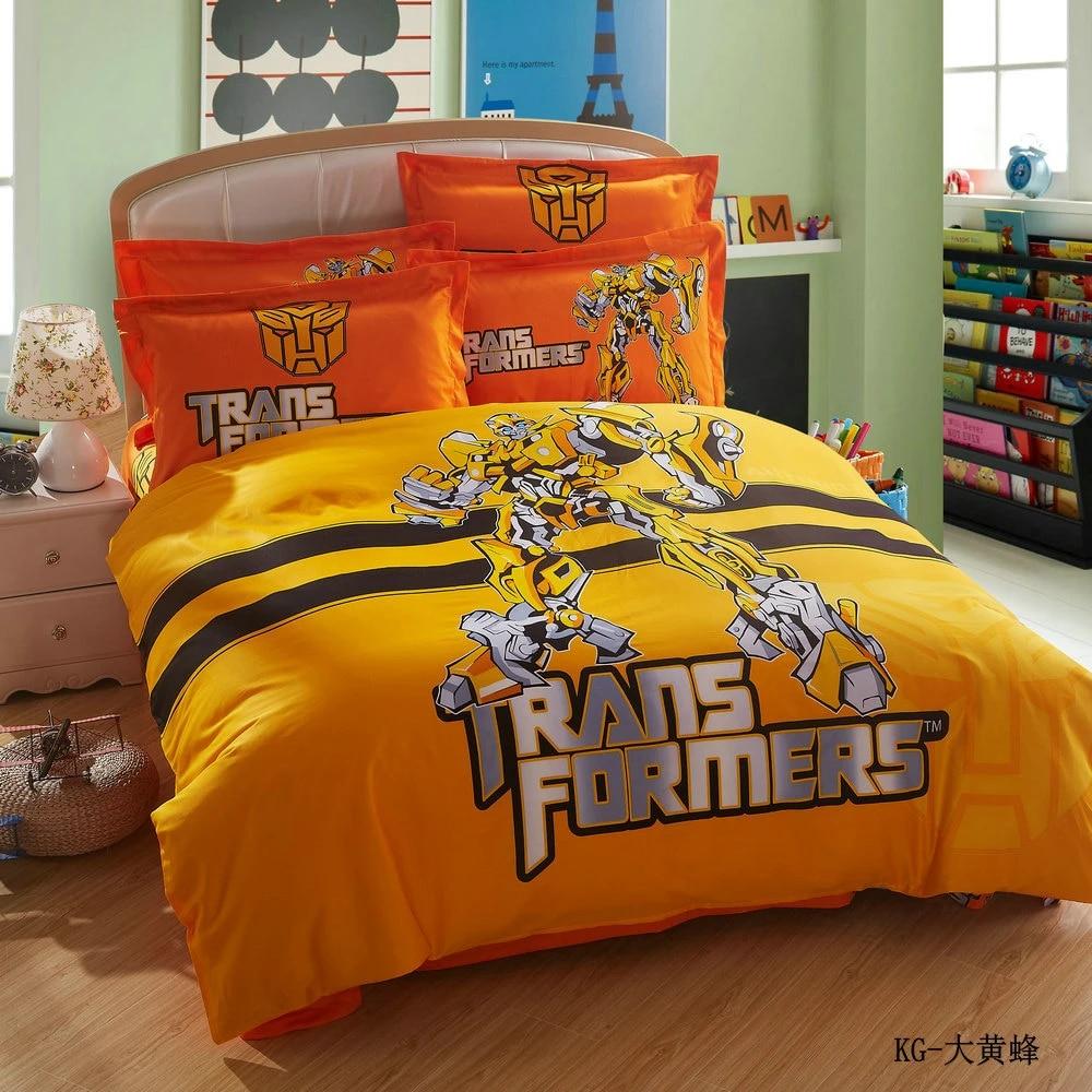 100 cotton bedroom sheets set transformers twin boy bedding set duvet cover beddings for children oil printing bedding