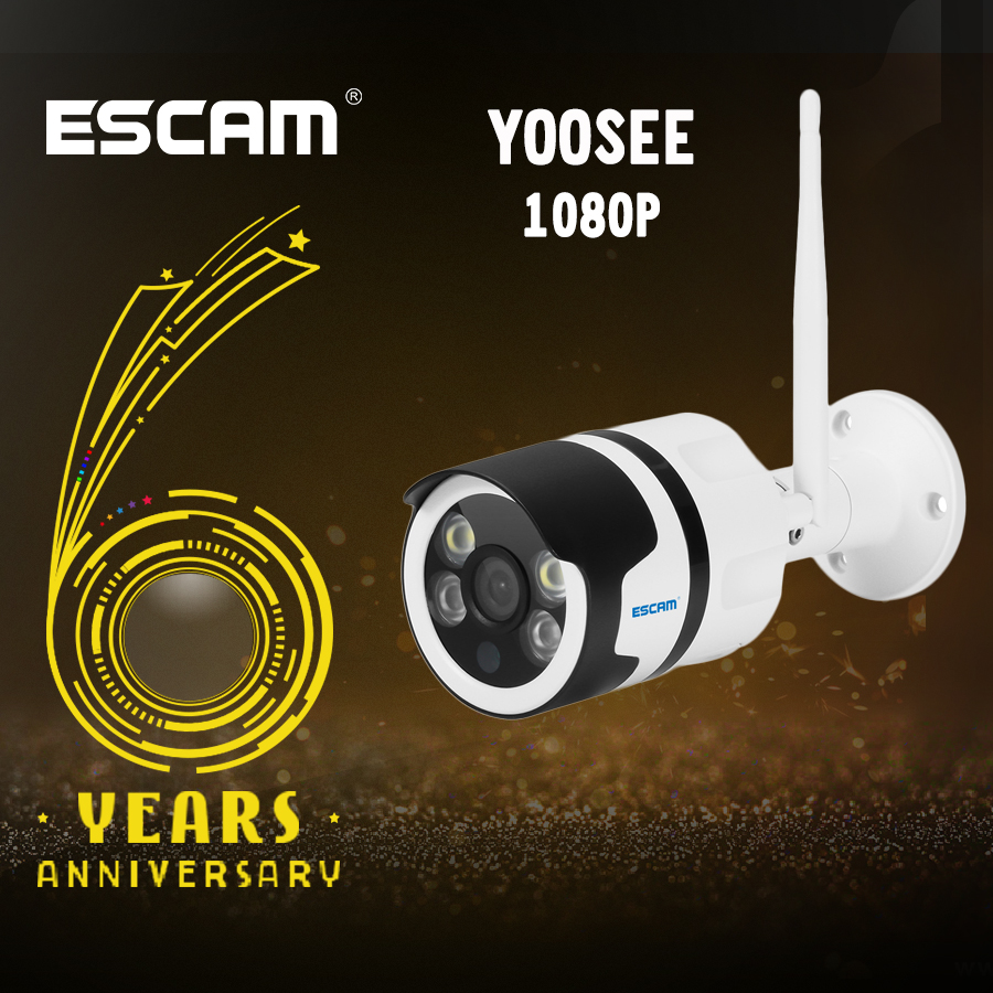 ESCAM QF508 IP Camera HD 1080P 2MP Waterproof Outdoor full color night vision Security Camera Infrared Bulllet Camera YOOSEE escam qf508 ip camera 128g 1080p 2mp waterproof outdoor full color night vision security camera infrared bulllet camera