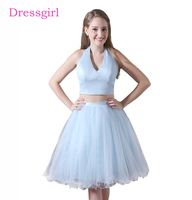Sky Blue 2018 Homecoming Dresses A Line Halter Organza Two Pieces Backless Elegant Cocktail Dresses