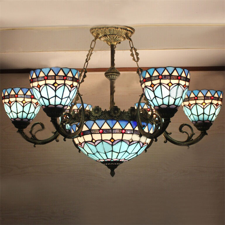 European Vintage Glass Pendant Light Artistic Minimalist Tiffany Bar Cafe Lamp Dining Room Pendant Light Dia 82cm 9 Lights кукла лола 38 см со звуком