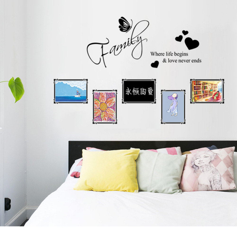Sweet family butterfly love heart photo frames wall stickers home sweet family butterfly love heart photo frames wall stickers home decoration bedrrom black wall decals mural art hot sale in wall stickers from home amipublicfo Choice Image