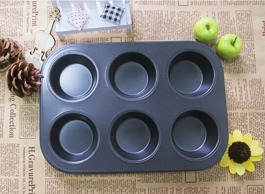 1PC 6 holes Carbon Steel Cupcake Baking Tray Shaped Cake Pan,Nonstick 3d Mold Muffin Cups EJC 0522