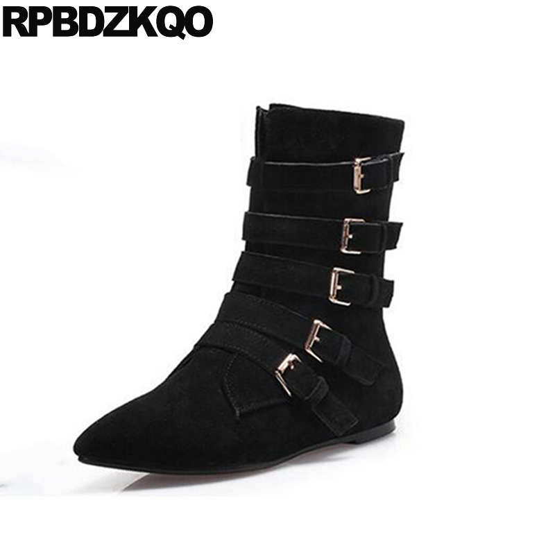 Pointed Toe Casual Autumn Fur Black Size 4 Shoes Metal Flat Women Boots Winter 2017 Suede Mid Calf Fashion New Chinese Female цены