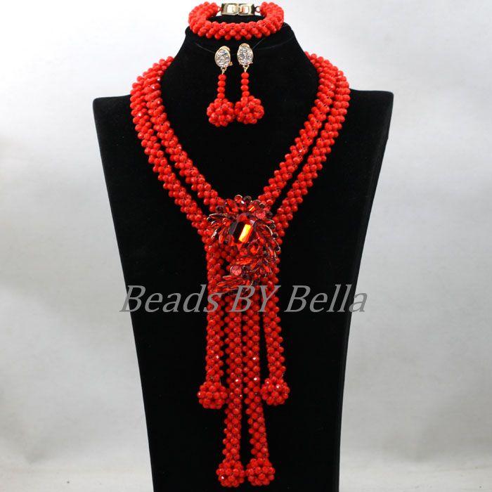Opaque brillant rouge cristal à la main bijoux de mariée ensemble nigérian mariage perles africaines femmes pendentif collier livraison gratuite ABK952