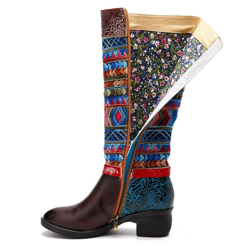 Plattform Stiefel Femme Nähen Echtes Stivali 2019 Botas Gummi Brown Nouveau Leder Blume Alti Sondr Mode Altas Braun Lange Bottes CvEwqXq