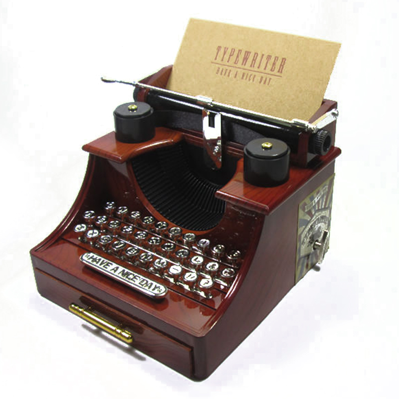 Vintage Plastic Typewriter Model Music Box Figurines Ornaments Dynamic Chain Music Boxes with Drawer Crafts Home Decor Kid Gifts