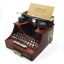 Vintage Plastic Typewriter Model Music Box Figurines Ornamen