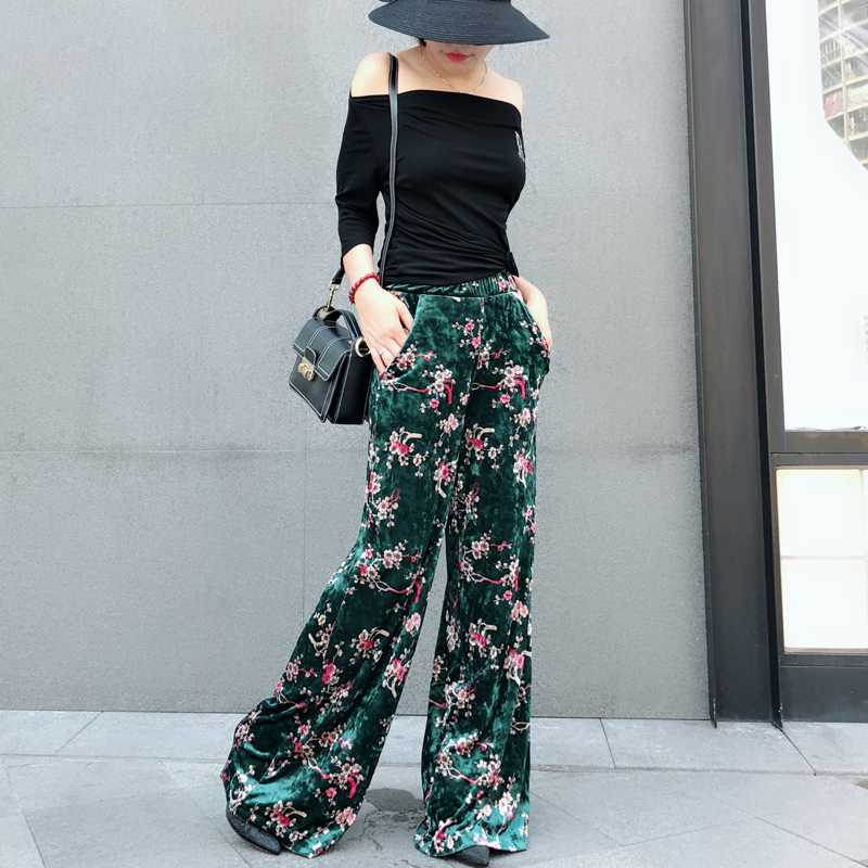 Women's Causal   Pants   Autumn Velvet Flower Print   Pants     Wide     Leg     Pants   Loose Straight Trousers Long Female Plus Size Trousers