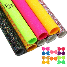 JOJO BOWS 22*30cm Sparkly Glitter Fabric For Dress Solid Fluorescent Sheet Craft DIY Hair Bows Cloth Handmade Bags Materials