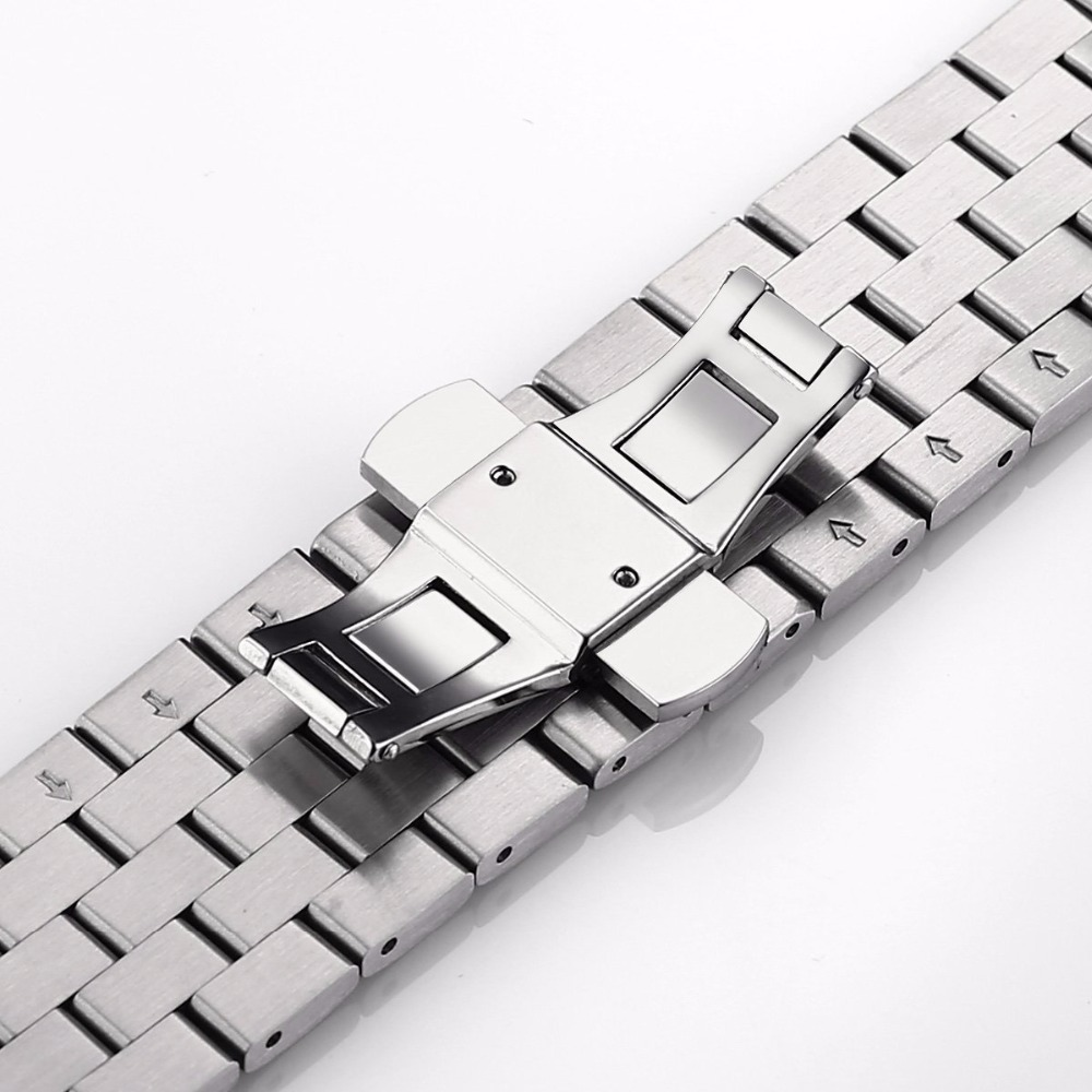 Applies to apple apple watch for dw tissot casio Longines strap metal strap stainless steel solid with no connector ...