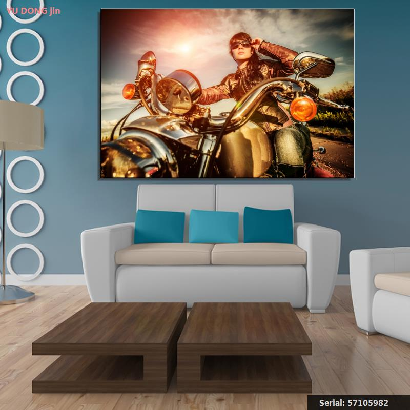 Motorcycle Life Modern Oil Painting Drawing Art