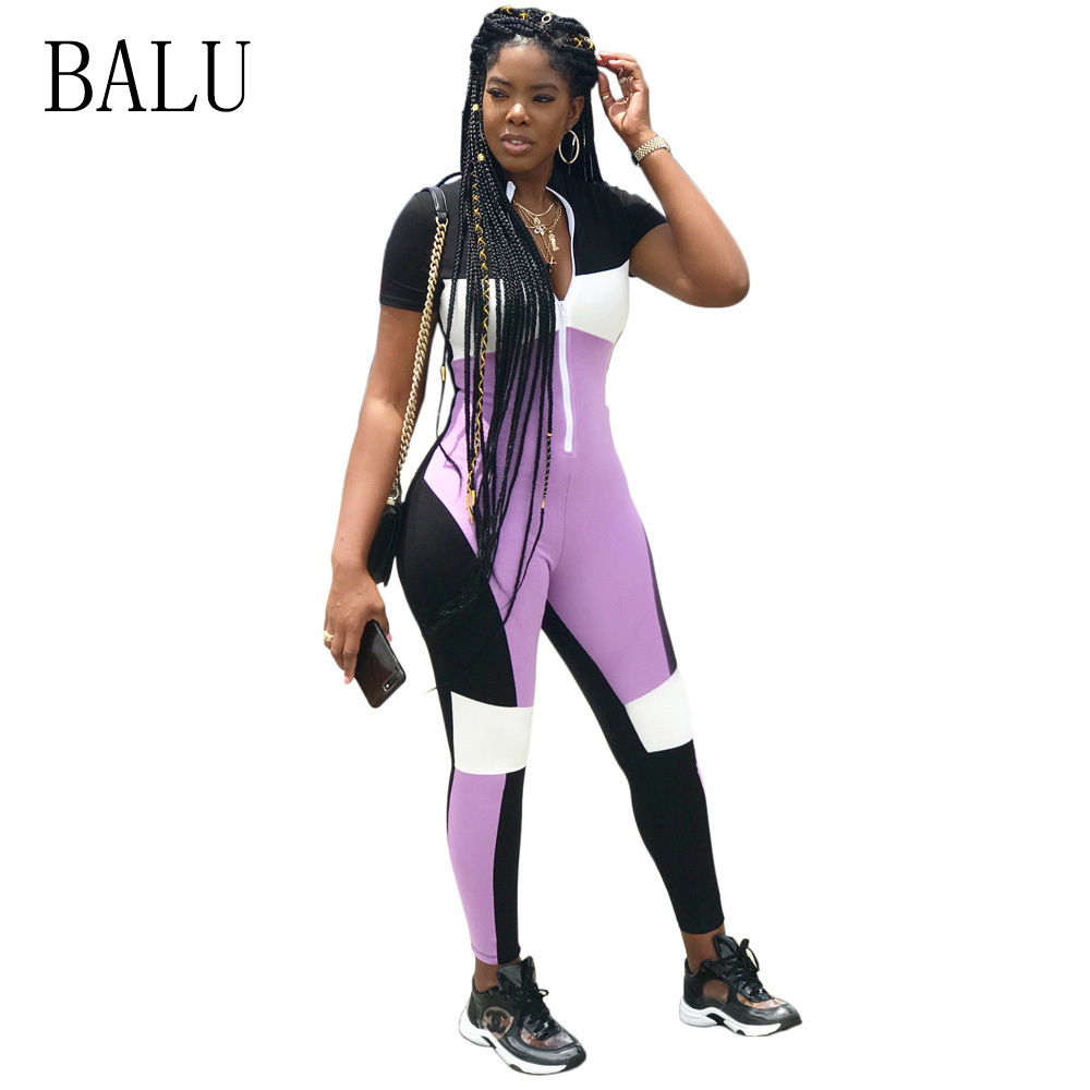 BALU Female Casual Jumpsuits Summer Overalls Short Sleeve Front Zipper Bodycon Jumpsuit  ...