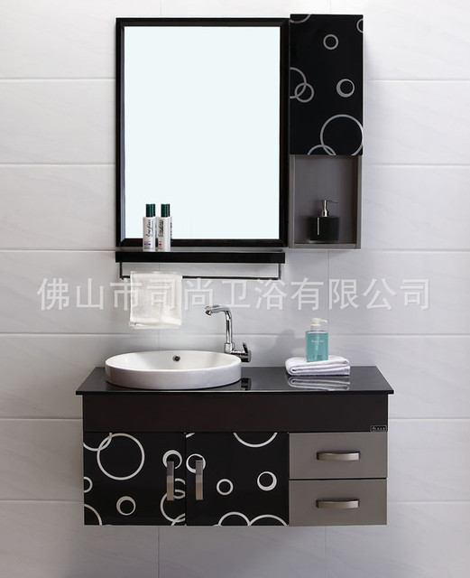 Customized High End Modern Minimalist Stainless Steel Bathroom Cabinet Mirror Washbasin
