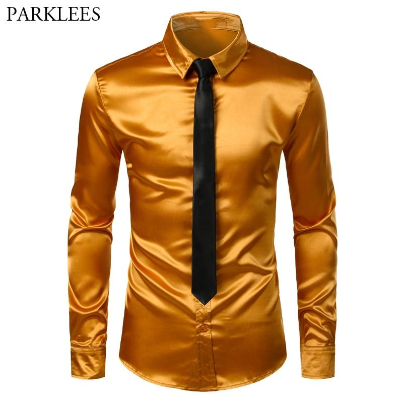 Men's Gold Silk Satin 2 Pcs Dress Shirts (Shirt+Tie) Brand Slim Fit Button Down Wedding Party Prom Shirt Male Chemise Homme 3XL