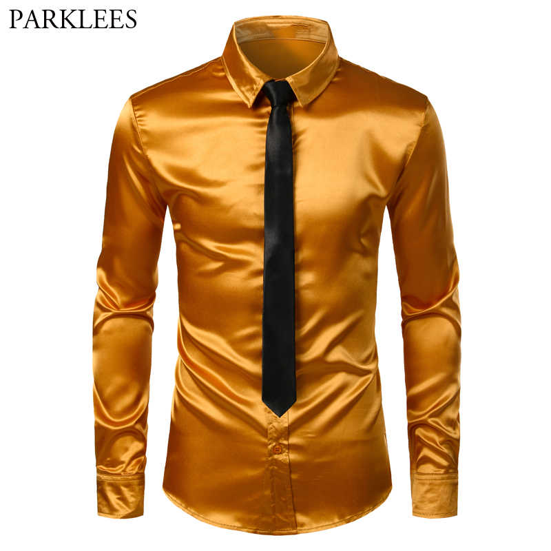 Men's Gold Silk Satin 2 Pcs Dress Shirts (Shirt+Tie) Brand Slim Fit Button Down Wedding Party Prom Shirt Male Chemise Homme 3XL