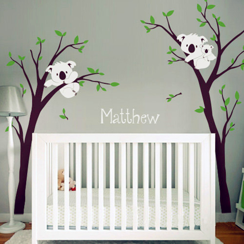 2016 New Baby Nursery Bedroom Wall Decor Koala Tree And Custom Name Sticker Vinyl Decals Personalized Home Decoration