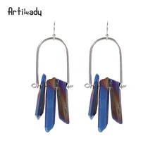 Artilady natural raw crystal earrings silver color handmade crystal drop earring for women jewelry gift