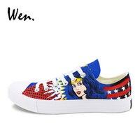 Wen Summer Breathable Sneakers Low Top Canvas Shoes Design Wonder Woman Hand Painted Shoes Man Woman Sport Skateboard Plimsolls