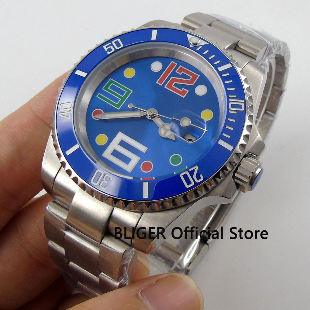 Sapphire Crystal 40MM BLIGER Blue Sterile Dial Blue Ceramic Rotating Bezel Luminous Hands Miyota Automatic Movement Men's Watch цена и фото