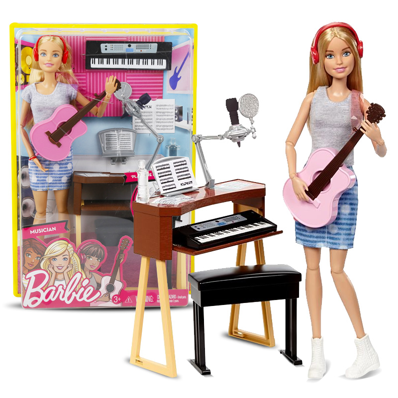 Original Barbie Doll Musical Set Guitar Joint Movable Fashion Princess Dress Accessories Birthday Present Toy For Girl Gift