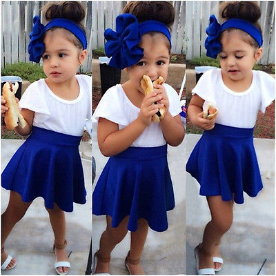 2444febc0a173 Hot Kids Baby Girls 2 Piece White shirt Blue Skirt Set Summer Dress Outfits  CA