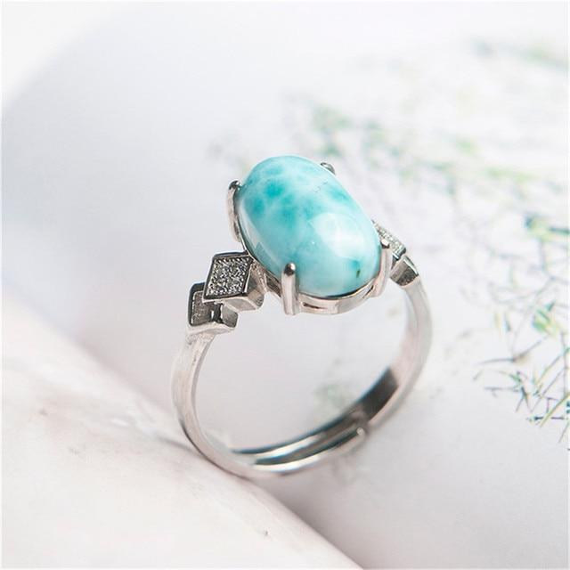 Adjustable Genuine Natural Larimar Crystal Round Stone Beads  Stering Sliver Women Gift Ring 13*8mm
