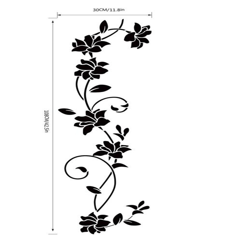 New design 2017 new wall sticker flower vine decals black for Appliqu mural autocollant