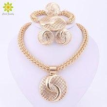 Последние Роскошные Большой Дубайская золото Цвет кристалл колье, ювелирные наборы мода нигерийские Свадебные африканские бусы бижутерия