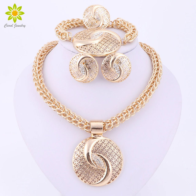 Latest Luxury Big Dubai Gold Plated Crystal Necklace Jewelry Sets Fashion Nigerian Wedding African Beads Costume Jewelry