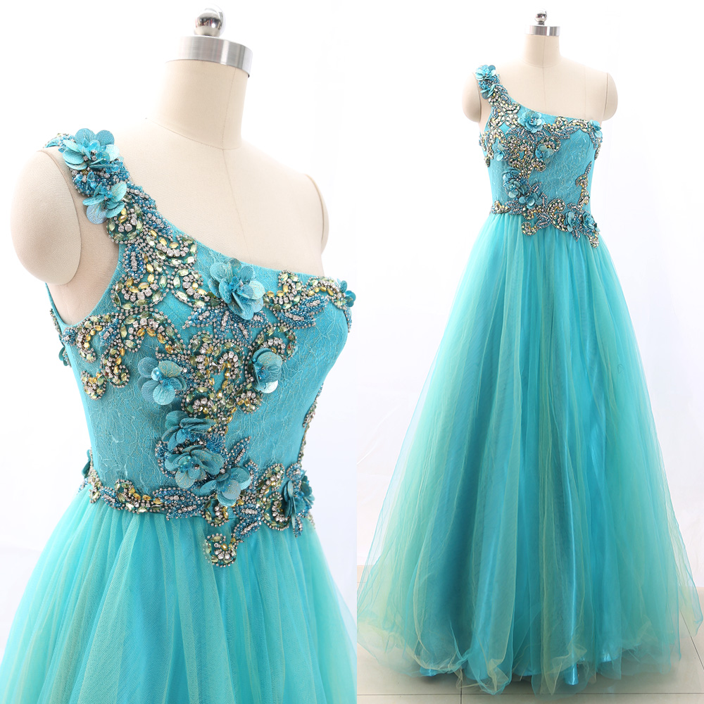 MACloth Aqua Ball Gown One Shoulder Floor-Length Long Crystal Tulle   Prom     Dresses     Dress   M 266303 Clearance