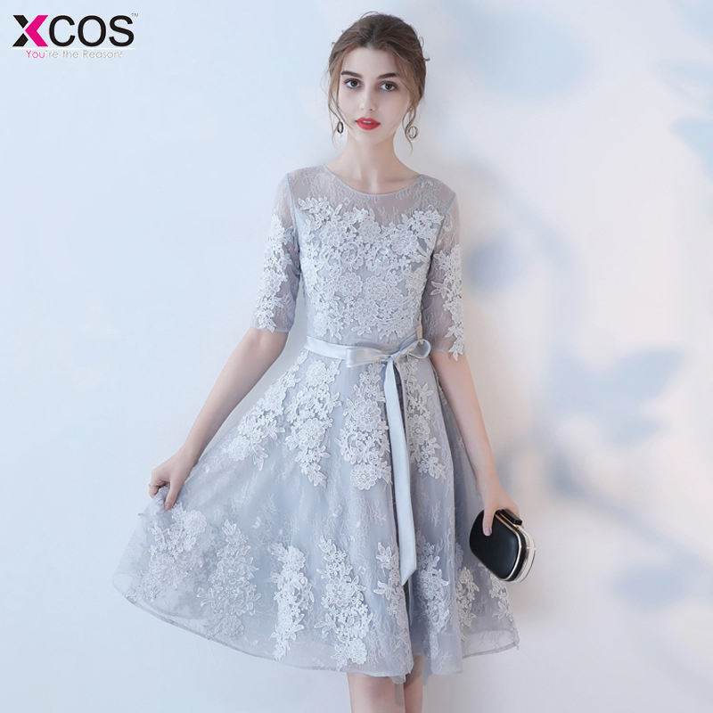 Vestidos de Renda Black Lace Homecoming Dresses Real Image Grey Short Prom Dresses Vestido de Festa Curto