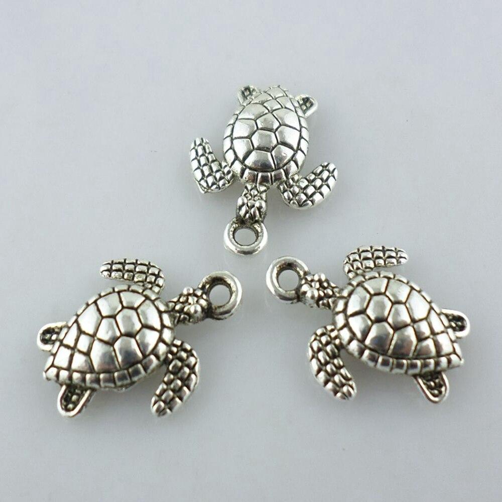 48pcs Tibetan Silver Sea Turtle/Tortoise Charms Crfts Pendants 12x16mm Jewelry Making