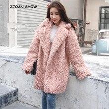 2018 novo inverno gola entalhada manter quente solto longo jaqueta outwear círculo encaracolado peludo salsicha falso pele de ovelha casaco longo