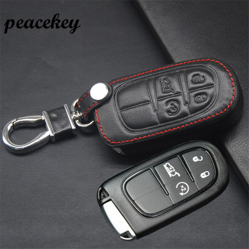Peacekey Genuine Leather Car Keychain Key Case Cover For Fiat Jeep Grand Cherokee Compass Patriot Dodge Journey Chrysler 300C yuzhe auto automobiles leather car seat cover for jeep grand cherokee wrangler patriot compass 2017 car accessories styling