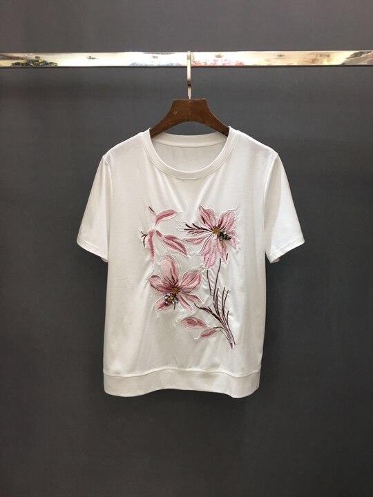 Neue Und Ärmeln 0401 Runde T Kurzen Stickerei Hals Schwarzes Sommer Blume Brust Top Frühling Gepaart shirt weiß 2019 gtdwSqq