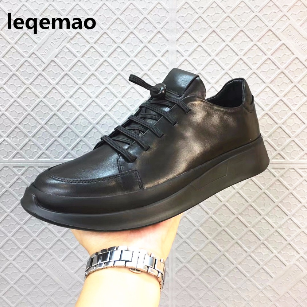 New Arrival Spring Autumn Fashion Leqemao Brand Men Casual Shoes Oxford Genuine Leather High Quality Lace-up Comfortable Shoes