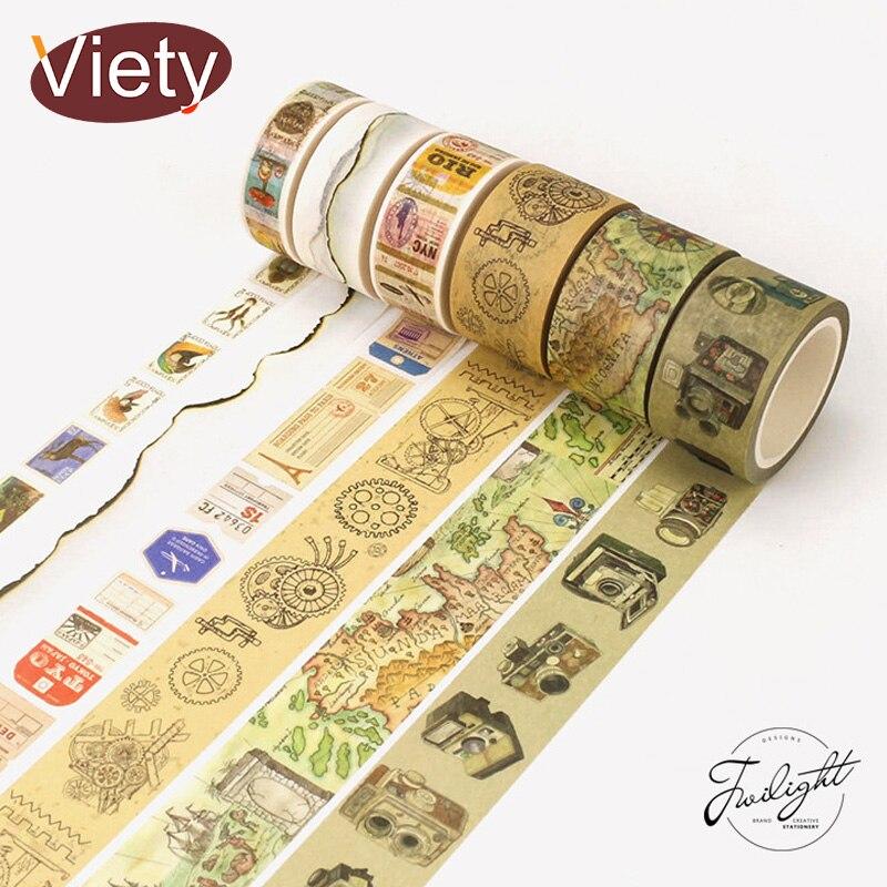 1.5-6cm*8m Vintage Camera Lace Washi Tape DIY Decorative Scrapbooking Planner Masking Adhesive Tape Label Sticker Stationery