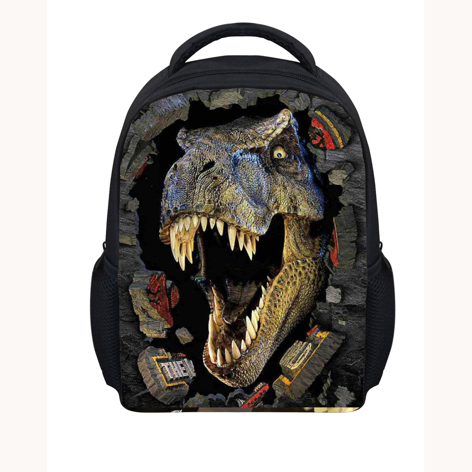 Noisydesigns dinosaur 3D Printing Shoulder Backpack for Teen students kid gifts bag Customize image Children Schoolbag