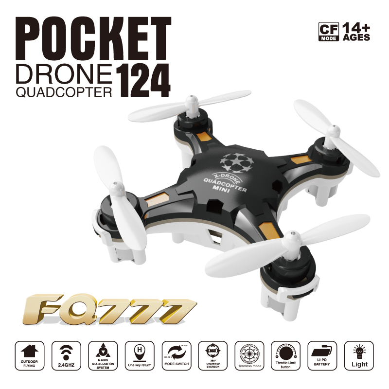 Free Shipping FQ777 124 Pocket font b Drone b font 4CH 6Axis Gyro Quadcopter With Switchable
