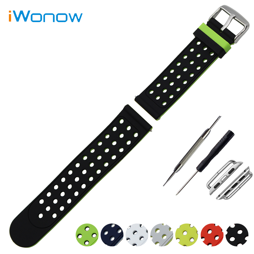 Silicone Watchband for 38mm 42mm iWatch Apple Watch Rubber Band Double Side Wearing Strap Wrist Belt Bracelet + Adapters 22mm 24mm silicone rubber watchband double side wearing strap for diesel men women watch band wrist belt bracelet black blue red