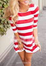 2017 newest autumn hot sales red women Large size dress half sleeve stripe splicing dot connect dress