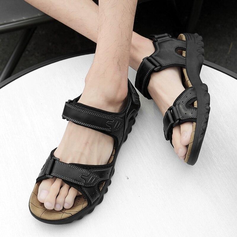 Summer Sandals Men Leather Classic Roman Sandals 2019 Slipper Outdoor Sneaker Beach Rubber Flip Flop