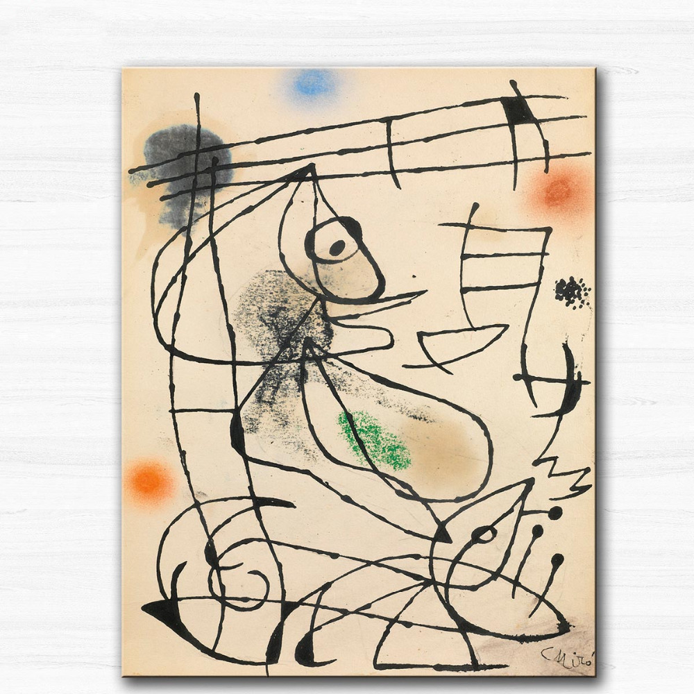 Huge Printing Oil Painting Wall painting BIRD by Joan Miro Wall Art Picture For Living Room painting no frame