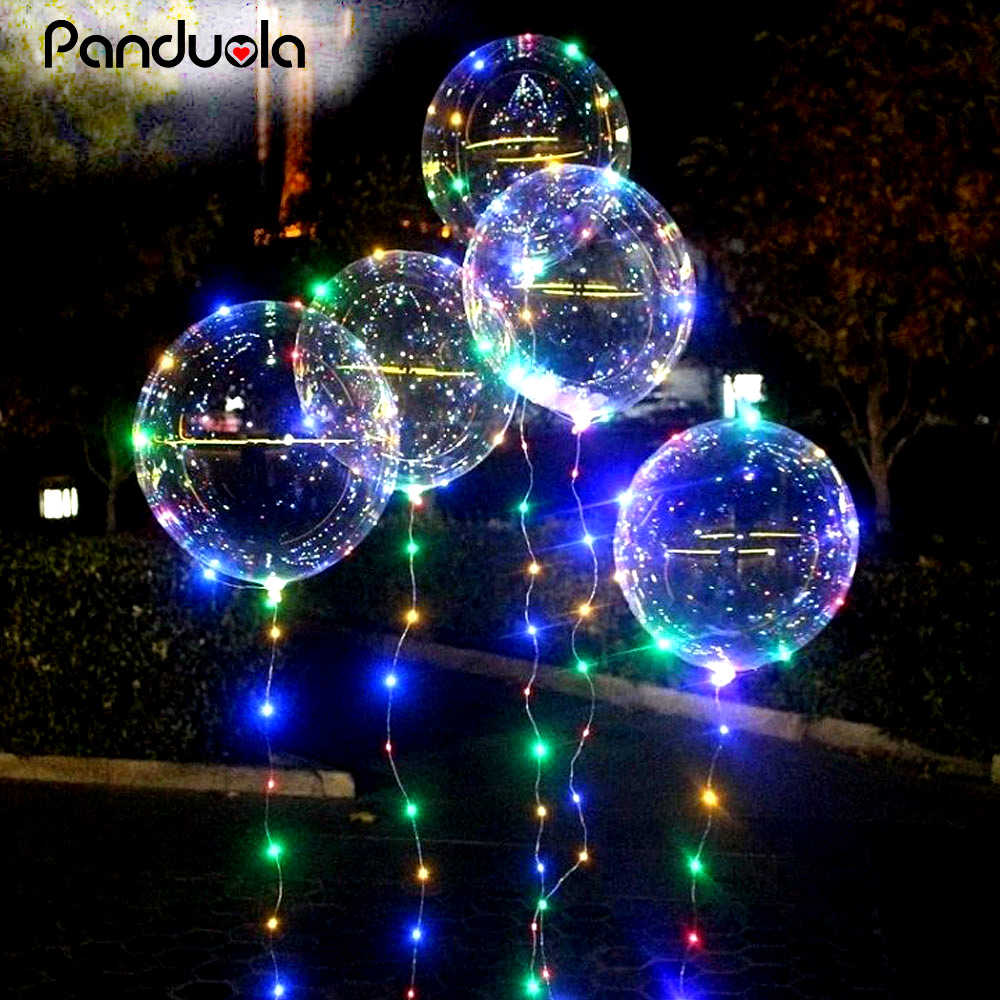 18 Inch Luminous Led Balloon 3M LED Air Balloon String Lights Round Bubble Helium Balloons Kids ...